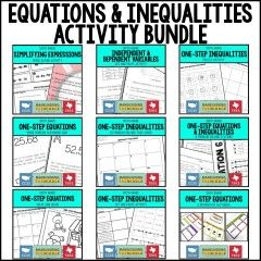 Equations and Inequalities Activity Bundle | Maneuvering the Middle