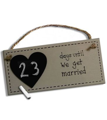 Good engagement party gift idea … countdown to wedding day chalk board