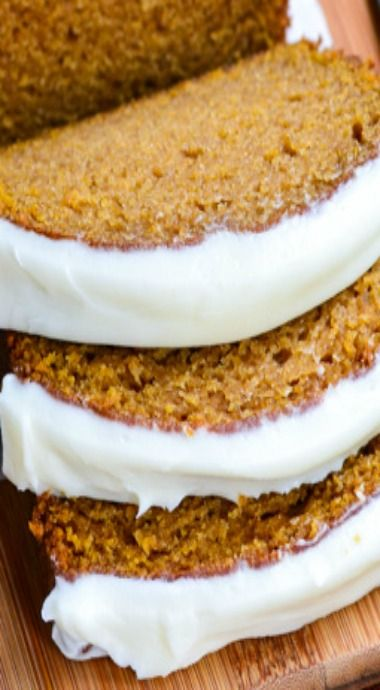 Pumpkin Bread with Cream Cheese Frosting...made it, very easy and yummy...needs more spice.