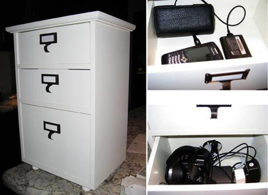 UP closet for electronics storage (similar- no need to charge,though) Kimmy's DIY Hideaway Charging Station