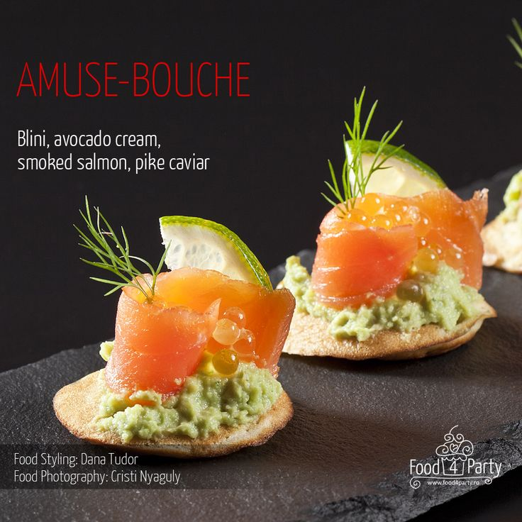 Blini avocado salmon pike caviar