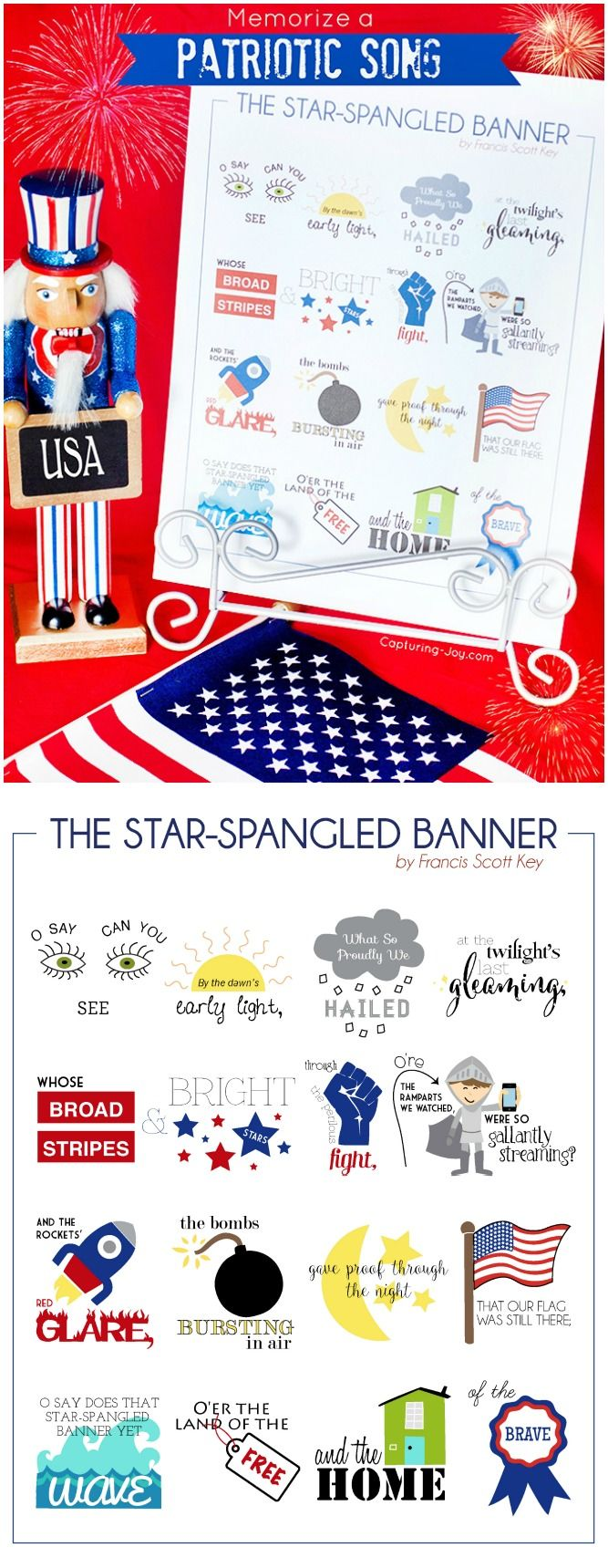 Help your family memorize the patriotic song The star-spangled banner for July 4th with this free printable. Great family activity and summer boredom buster.