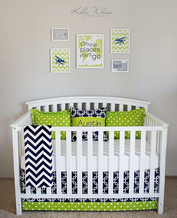 Crib Bedding Set Collin2 Navy Blue Lime Green by leahashleyokc