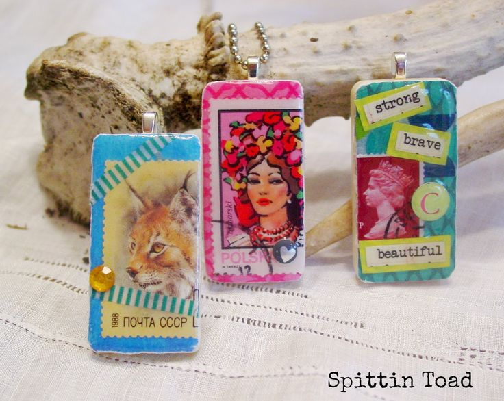 How to Make Altered Art Domino Pendants | Spittin Toad; domino jewelry diy, domino pendant diy