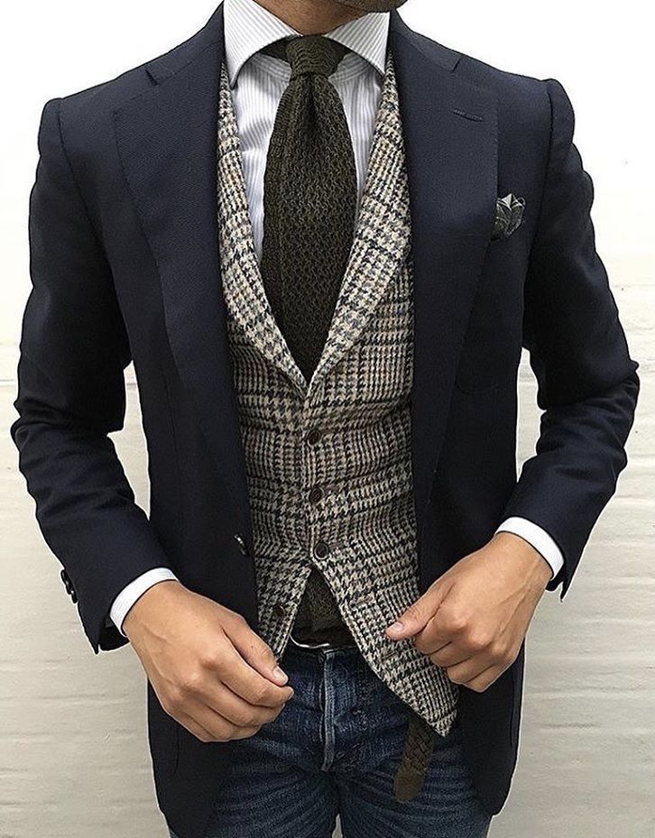 a0fbc6f8eb36 Earth Tone business casual with a navy blazer brown waistcoat brown knit tie  blue striped button up blue jeans brown leather belt brown blue silk pocket  ...