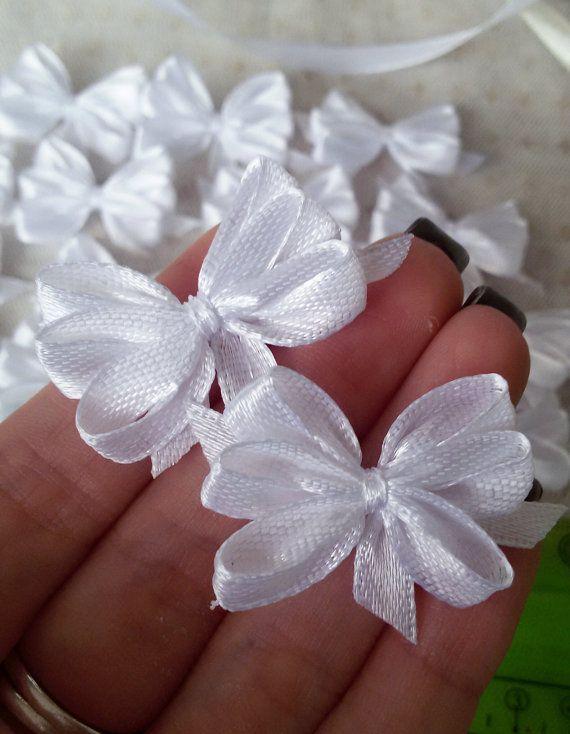 White satin ribbon bows white applique bows gift by Rocreanique on Etsy