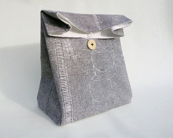 Lunch bag for women / Lunch bag for men / Cotton lunch bag with handle / Modern lunch bag / Minimalist lunch bag / Sac déjeuner