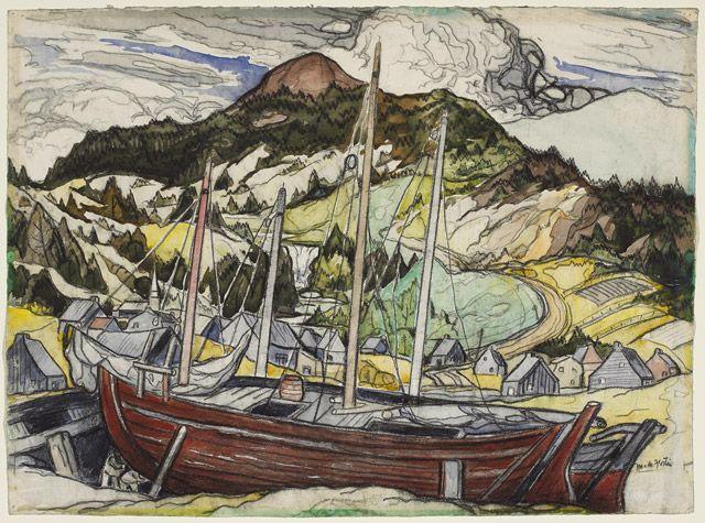 Marc-Aurèle Fortin Marine v. 1941-1944 aquarelle et fusain sur papier vélin 57,8 x 79,2 cm Inscription: M.A. Fortin Don du Dr Gustave Gingras, Monticello (Île du Prince-Édouard), 1983 Musée des beaux-arts du Canada (nº 28436)