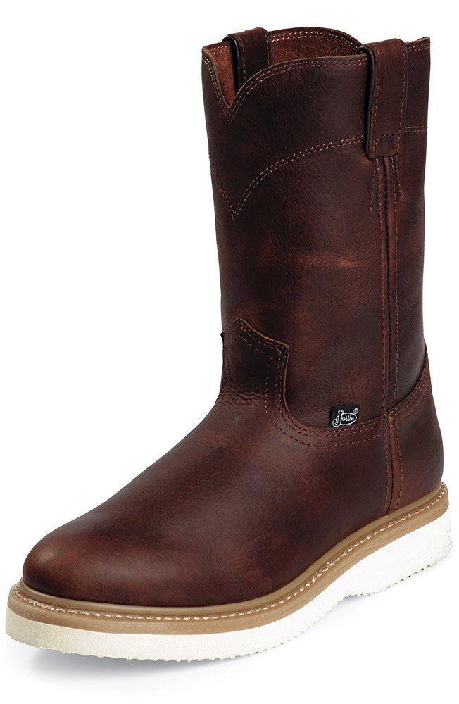 Tan Pull-On Wedge - Tan   Work boots