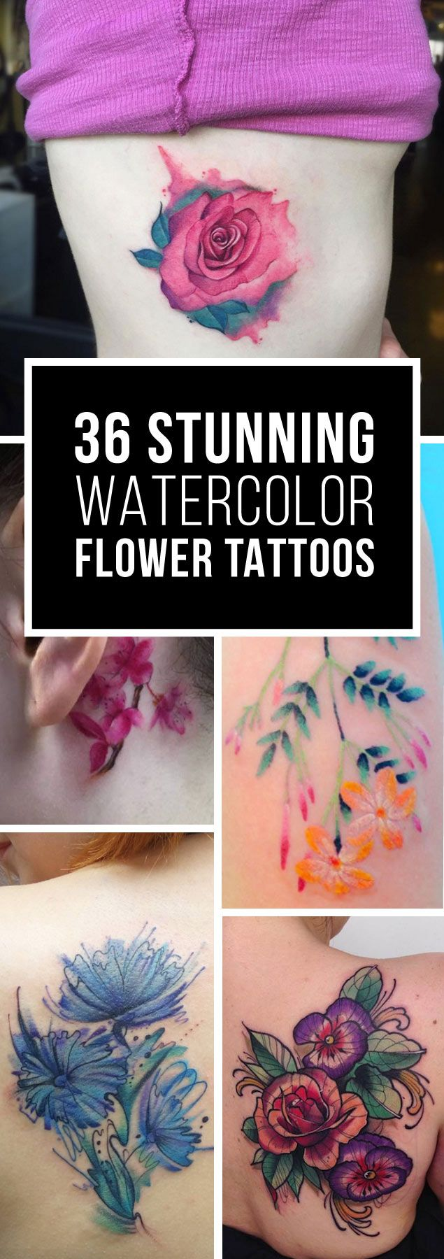 Amazing Watercolor Flower Tattoo Designs