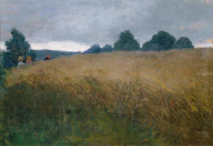 Bronisława Rychter-Janowska: Pejzaż olej, płyta, 46 × 66,5 cm w świetle ramy sygn. p. d.: B. RYCHTER J.