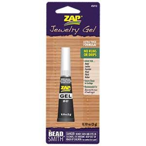 Zap Jewelry Gel - .10oz - Extra Thick Formula Zap Jewelry Gel - Extra Thick Formula!  No runs or drips - Great for metal, leather, porcelain, wood, plastic & rubber.  Secures clasps to cord (leather, rubber, cotton or satin cord), and recommended for Kumihimo Findings. Zap No-Drip Jewelry Gel is the thickest and strongest Cyanoacrylate Glue available.  Tube comes with a long tapered tip allowing precise application of just the right amount of glue. Click for more info $4.20