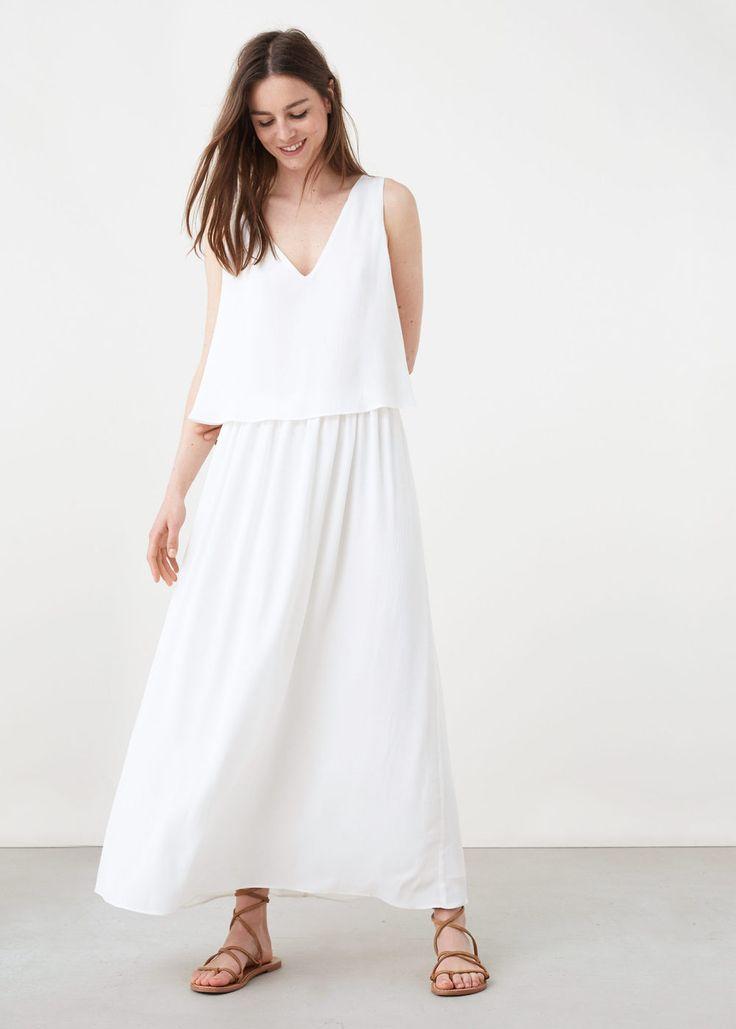 Vestido largo doble capa   MANGO