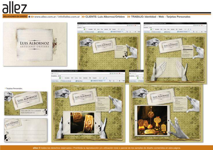Web Orfebrería - Jugamos con las manos del orfebre, para desplegar el menú y galerias de imágenes de la web