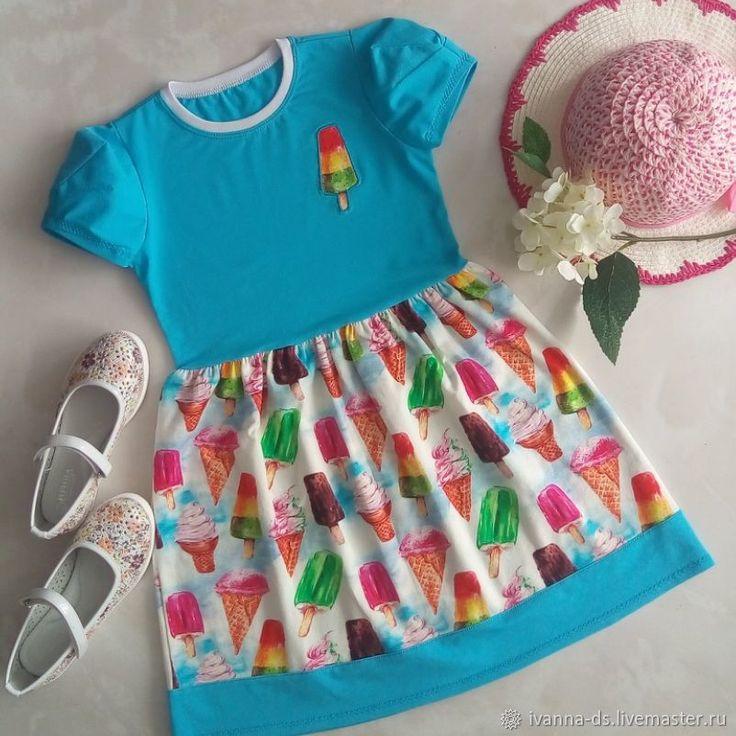 Купить Платье Мороженное - комбинированный, голубой, мороженное, мороженое, мороженое рожок, Мороженка, кулирка