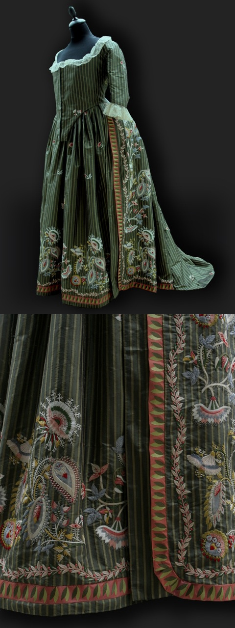 Robe à l'Anglaise, 1780   Historical Costumes and Vintage Textiles by Reine des Centfeuilles - beautiful