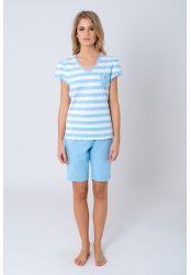 Pijama mujer - Lohe. Pijama vigore rayas, tejido de algodón - poliester, escote pico, manga corta fruncida, bolsillo pequeño.