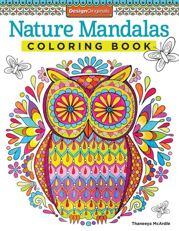 Adult Coloring Book Nature Mandalas Designs Stress Relief Doodles Colored Pencil