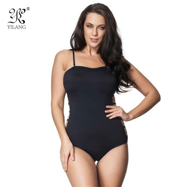 New Sexy Mesh Hollow Out One Piece Swimsuit Plus Size Beachwear Swimwear Female Bodysuit Black Bathing Suit Plus Size