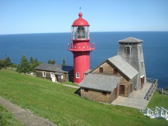 Lighthouse overlooking the ocean, Parc Forillon (Forillon National Park), Ste Anne des Monts, Gaspé Peninsula, Quebec, Canada