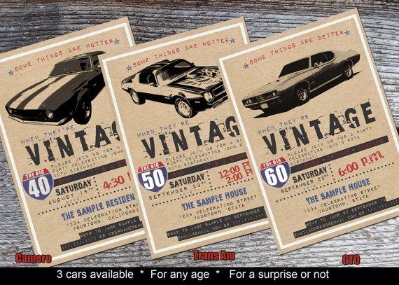 Muscle car lover's 30th birthday, 40th birthday, 50th or 60th birthday invitation