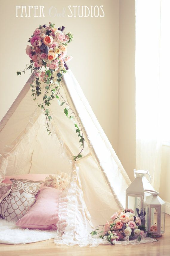 ISABELLA teepee for kids ivory cotton teepee by SugarShacksTeepee