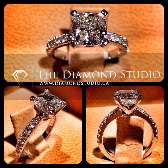 Gorgeous. Love the princess cut. love the solitaire (no halo!). Love the diamond band. Perfect.