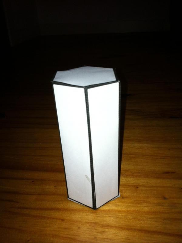 Make Cardboard Hexagonal Based Prism, label with volume formula