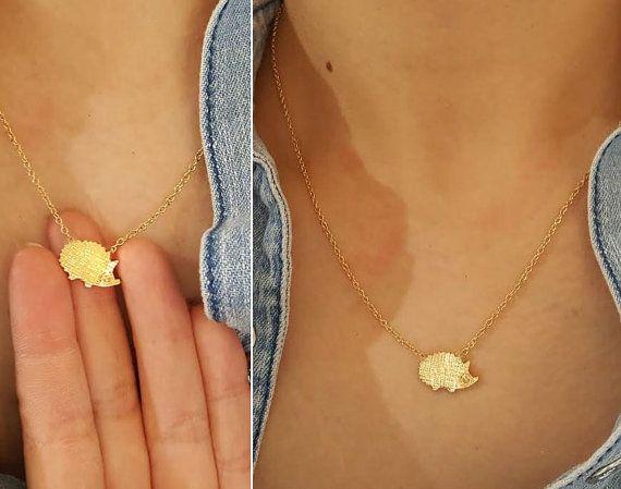 Egel ketting / 18 k goud, zilver / gelaagde ketting / mini ketting, bruiloft sieraden, cadeau, aangepaste ketting