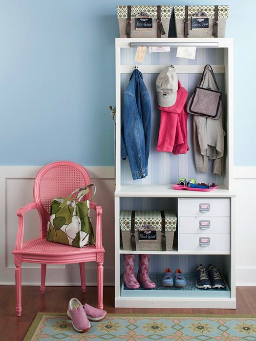 Small bookcase as an entryway closet/necessities combo! how cute!!! :D