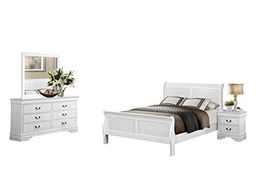 Modern Louis Philippe 4pc Bedroom Set Cal King Sleigh Bed Dresser