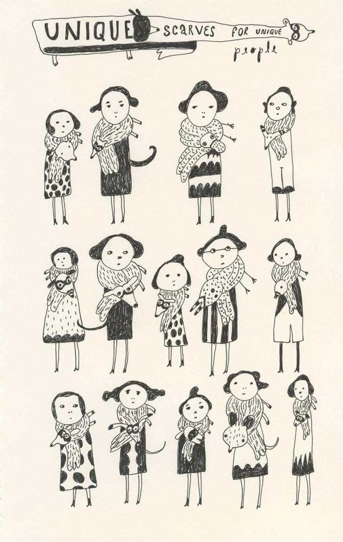 Unique scarves drawing by Elsa Mora