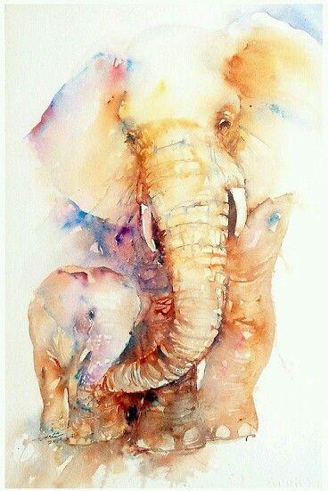 Acuarela bebe y mama elefante