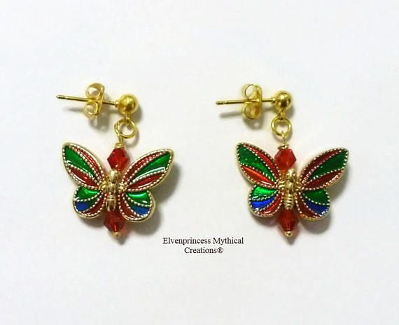 Butterfly Multi Coloured Earrings /stud Earrings #earrings #valentinesday #style #fashion #love #gifts #butterly #jewellery #earringswag #enameljewellery #enamel #studearrings