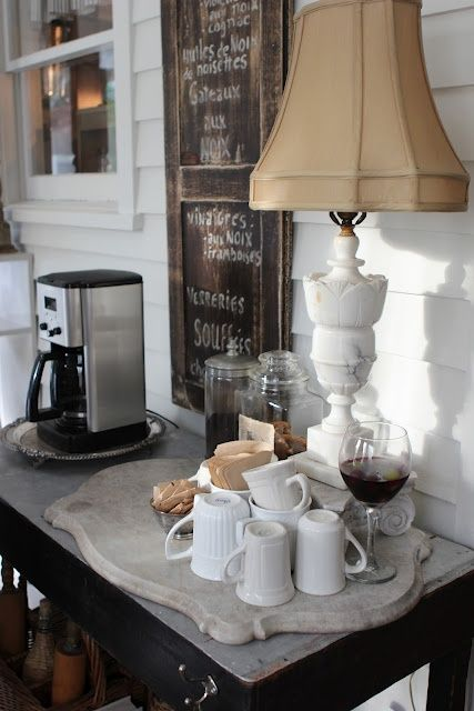 creative coffee station for guest room or in the kitchen-image via Romancing the Home