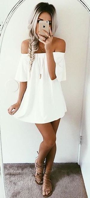 insta & pinterest @kenziemxller // white flowy off the shoulder dress with fishtail braid and strappy sandals