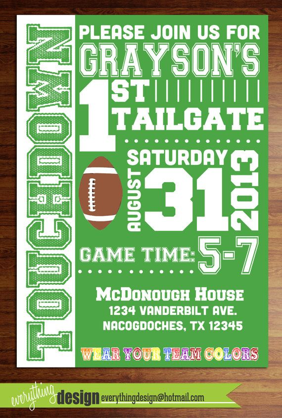 Custom printed football party invitations- football, touchdown, game day, superbowl