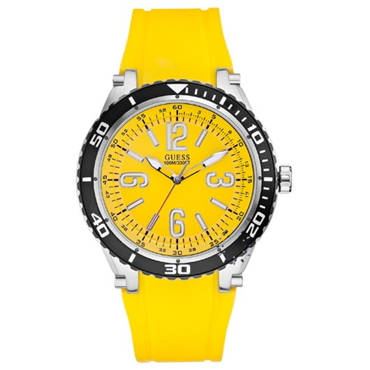 GUESS Yellow Rubber Strap  109€  http://www.oroloi.gr/product_info.php?products_id=29268