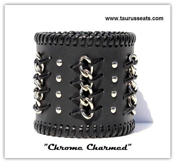 Do not miss this very special Made-to-Order Chrome Charmed genuine leather bracelet. Made form 7-8 oz (aprox. 3mm) black leather. This leather keeps strong shape, but still soft enough and pleasant to wear.  Chrome Charmed is a handmade bracelet with chrome studs and chains for real bikers. Features chrome chain attached to the bracelet by high quality premium calf leather lacing. Simple and elegant it would attract everybodys attention.  Bracelet closure has two options - snaps as on the…
