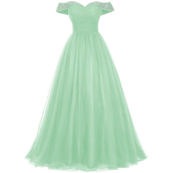 Bridesmay Long Tulle Prom Dress Beaded Off Shoulder Evening Gown... ($85) ❤ liked on Polyvore featuring dresses, green prom dresses, green formal gowns, long formal dresses, long gown and long prom gowns
