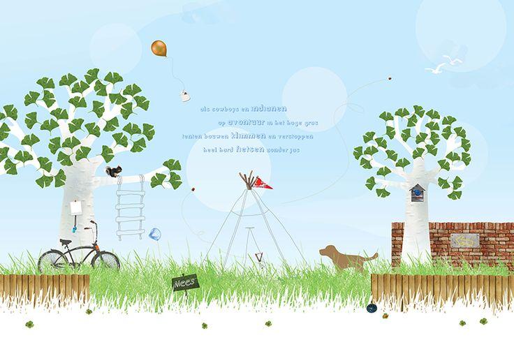 Fotobehang Jongen voor kinderkamer - Tekst in de lucht, foto in boom ...