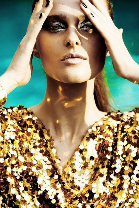 BeautySouthAfrica: Gorgeous editorial featuring Vasilisa Pavlova. The gold sequins top is everything!
