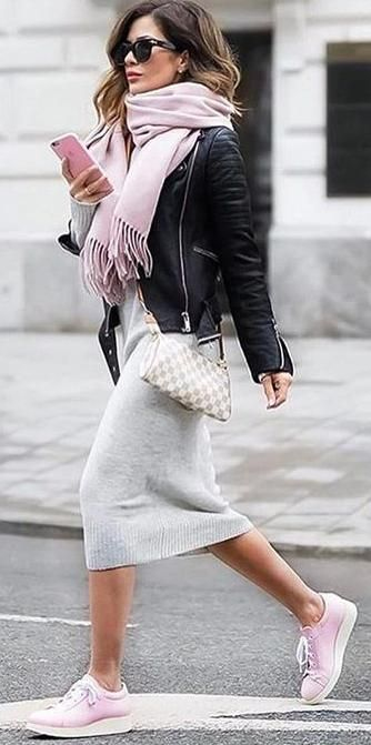 street chic. pink sneakers. fringed scarf. knit dress. leather jacket.