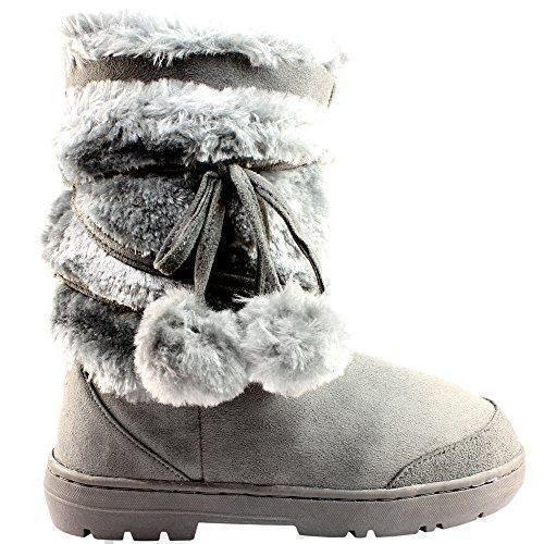 Oferta: 24.99€. Comprar Ofertas de Mujeres Pom Pom totalmente alineada botas piel a prueba de agua nieve del invierno - gris - 5 barato. ¡Mira las ofertas!