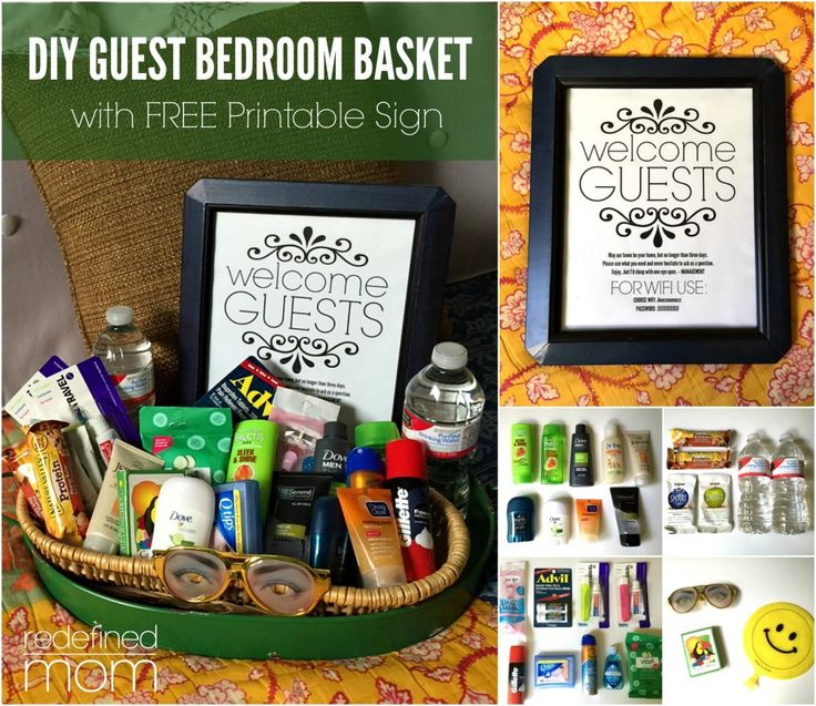 Take hosting company to the next level with this DIY Guest Room Basket with FREE Printable Sign. Sign includes space for Wifi information, garage code and more.