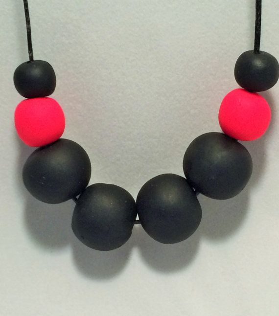 Black & Neon Fluro Pink Polymer Clay Necklace by CKWJewellery