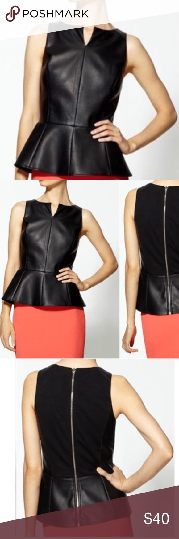 ♥️ Vegan Leather Peplum Top! This flattering super chic Tinley Road peplum top is the perfect compliment to any skirt or pant. It has a zip closure in the back, contrast fabric in the back that is a spandex blend and fully lined, size is true to fit XS. Retailed for $95. Tops