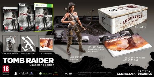 http://www.gamesta.com/tomb-raider-details-collector-editions/    Gamesta.com receives the details on the Tomb Raider collector editions. Square Enix will reboot the iconic lady of gaming with 3 editions: A limited run with added DLC, a Survival edition with goodies and a Collector's Edition that adds a statue and tin box.