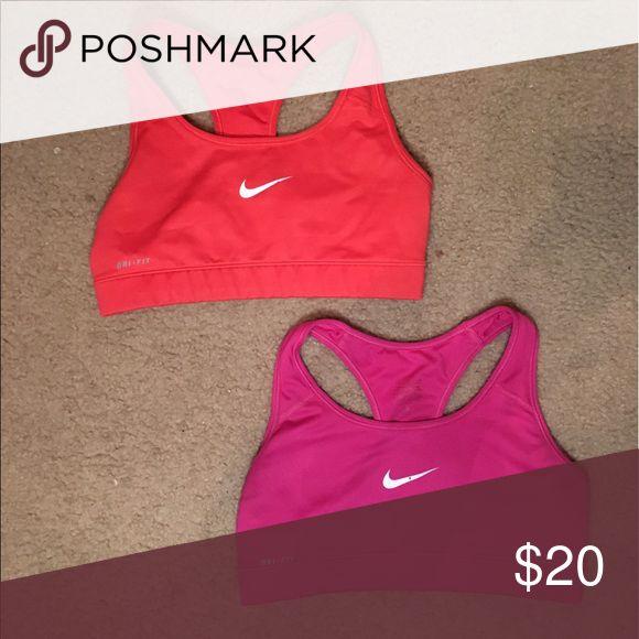Size S Nike Sports Bra Bundle!! Size small red sports bra, size small pink sports bra, both have worn Nike checks Nike Intimates & Sleepwear Bras