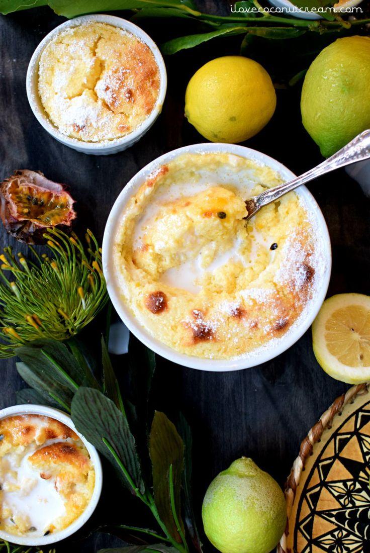 Coconut lemon passionfruit pudding